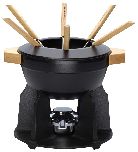 Le Creuset - cast iron fondue set, black