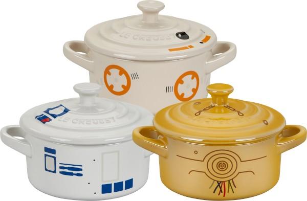"""Le Creuset - Steinzeug-Mini-Cocotte Droiden-Komplettset """"C-3PO,R2- D2,BB-8"""""""