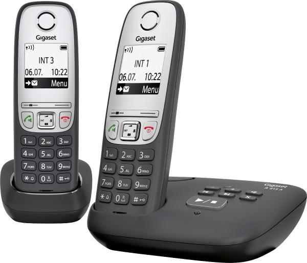 Gigaset - Schnurlostelefon A415 A Duo mit AB, schwarz