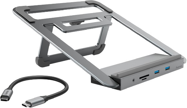 Hama - 12in1 docking station with notebook stand, silver