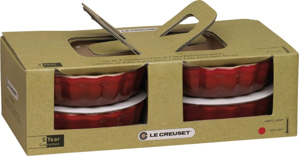 Le Creuset - Stoneware tarte moulds set of 4 11 cm, cherry red