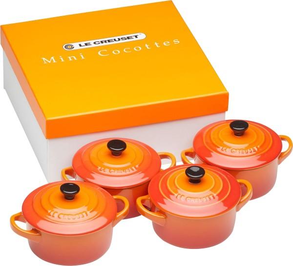 Le Creuset - Steinzeug-Mini-Cocotte 4er-Set, ofenrot